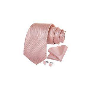 Blush Pink Silk Gold Tie Ring Set Necktie